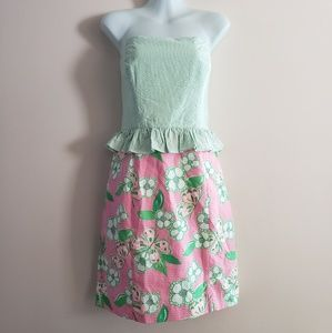 "Lilly Pulitzer "" Lowe"" Strapless Peplum Dress"